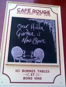 Cafe Rouge Blackheath Hidden Garden Sign