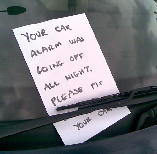 Noisy car alarm