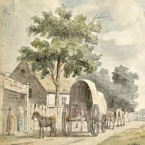 The Hare and Billet Pub, Blackheath, old painting