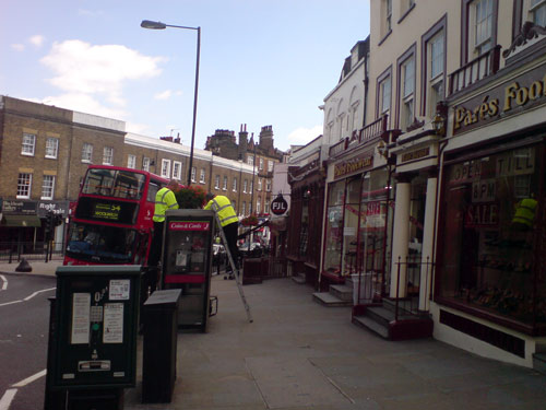 Phone box being removed in Blackheath