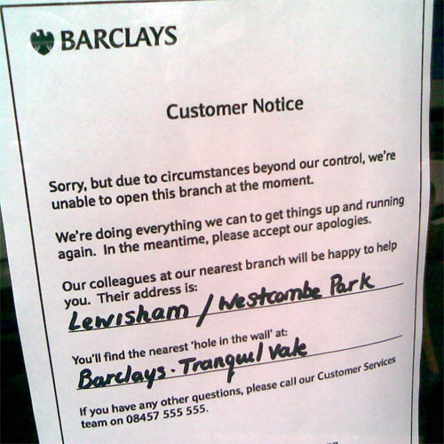 Barclays Bank Branch in Blackheath Mysteriously Closed