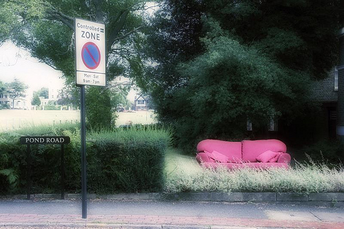 Sofa on Pond Road in Blackheath, taken by flickr user fotologic