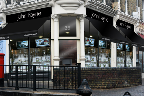 Mock up of John Payne Estate Agents at Tuck's Corner, Blackheath