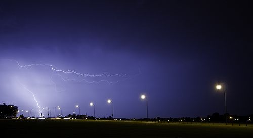 Lightning on Blackheath Common during a thunderstorm.  Taken by flickr user TG&BB