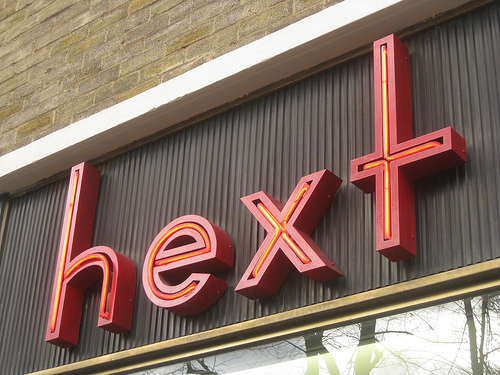 Hext hairdressing salon neon sign in Blackheath, London