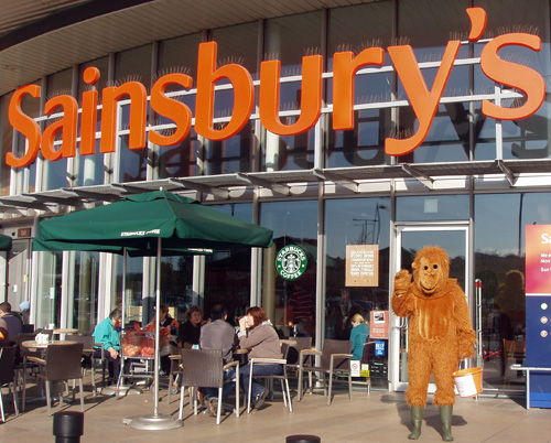 Orang-utan outside Sainsbury's in Greenwich
