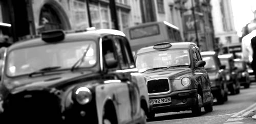 Black taxi cab in London