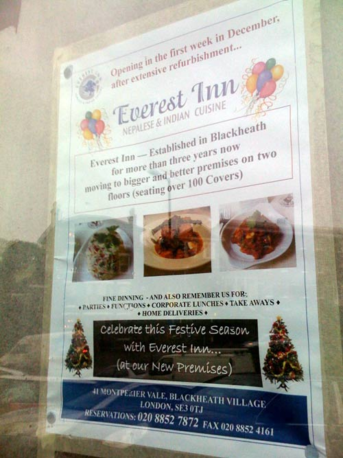 Everest Inn Nepalese and Indian Restaurant Blackheath is moving