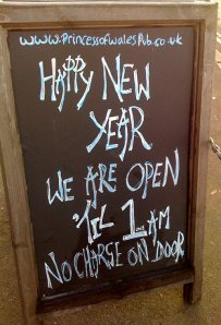 The Princess of Wales pub Blackheath new years eve