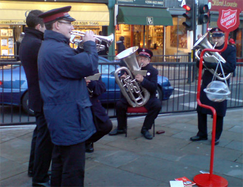 Salvation Army Brass Band in Blackheath playing Christmas Carols