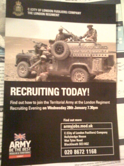 Army recruiting leaflet handed out a Blackheath Station