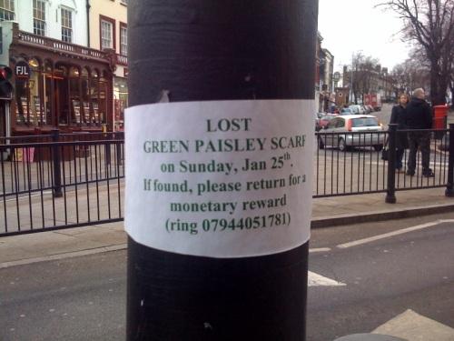 Lost Green Paisley Scarf on Blackheath