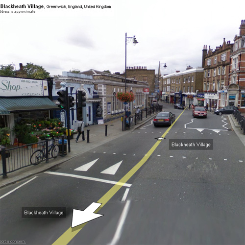 Google Street View in Blackheath village, London