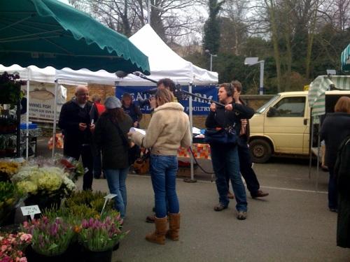 Aldo Zilli filming at the Blackheath Farmers Market for a BBC TV show