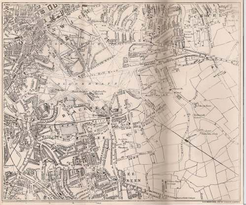 Blackheath Pocket Guide map by G.W.Bacon & Co Ltd 127 Strand London