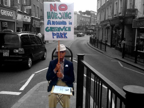 NOGOE protester in Blackheath Village