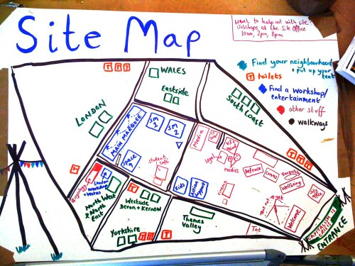 Hand Drawn Map of Climate Camp Blackheath 2009