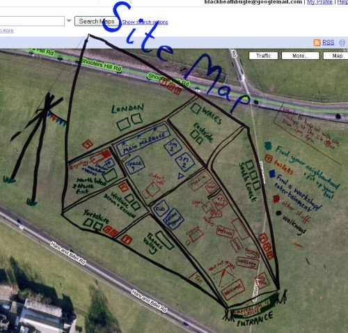 Clime Camp Blackheath Map 2009 overlaid on google maps