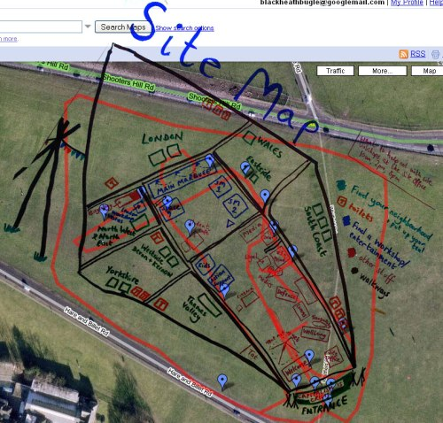GPS trail & Hand Drawn Map of Climate Camp Blackheath 2009
