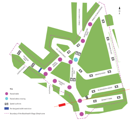 Map of Speed Restrictions in Blackheath Village Lewisham Council consultation