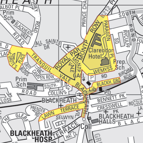 Map of the Cumulative Impact Zone in Blackheath by Lewisham Council