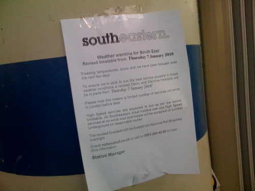 SouthEastern Train Revised Timetable at Lewisham Station during the snow
