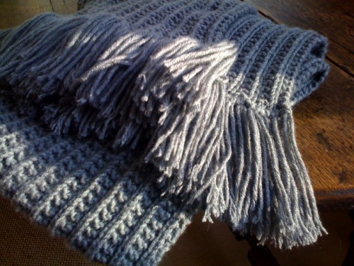 Woolly scarf, made by Mrs Bugle's mum