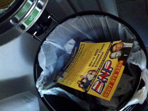 BNP leaflet, delivered in Blackheath, shown in its natural home.