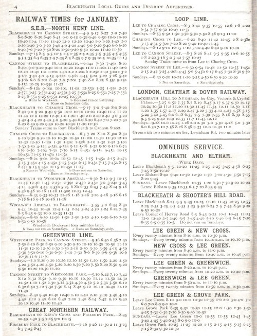 1889 Train Timetable showing Blackheath trains and buses from Blackheath Local Guide and District Advertiser