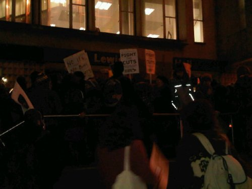 And the scene outside Lewisham Town Hall this evening ...