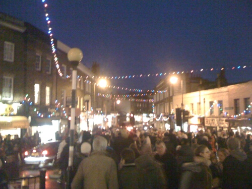 Blackheath High Street after the Christmas Lights switch on
