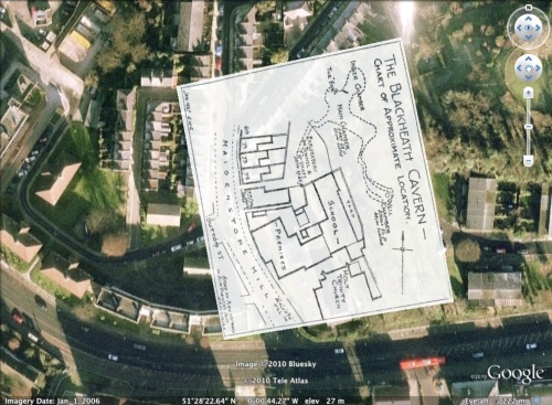Blackheath Caverns map overlaid on Google Earth
