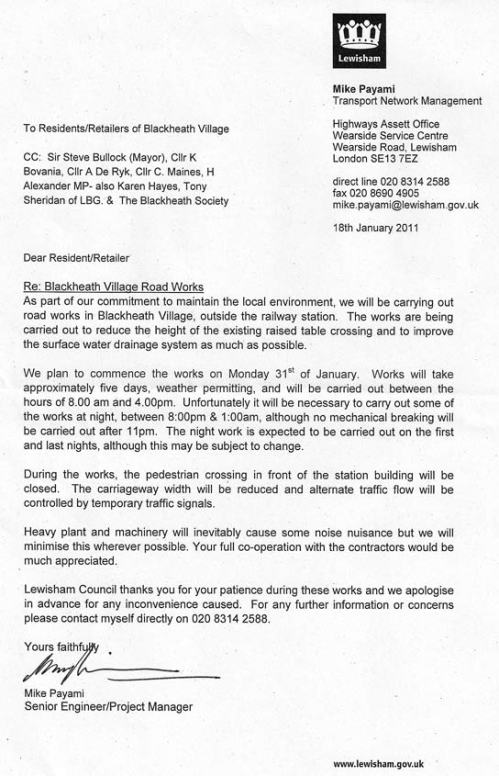 Blackheath Village Roadworks - letter from Lewisham Council