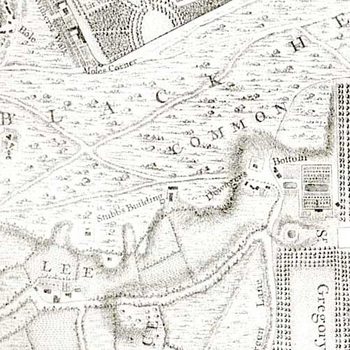 Section from John Rocque's survey map of Blackheath