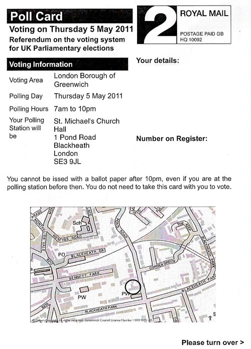 Polling card front for Greenwich council in Blackheath