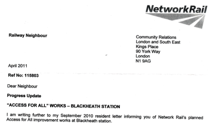 Network Rail letter informing Blackheath residents that the station improvement works are to be delayed.