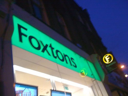 Foxtons non illuminated fascia sign