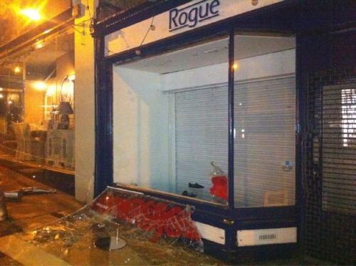 Rogue clothes shop smashed up in Blackheath.  Photo by Joss Crowley