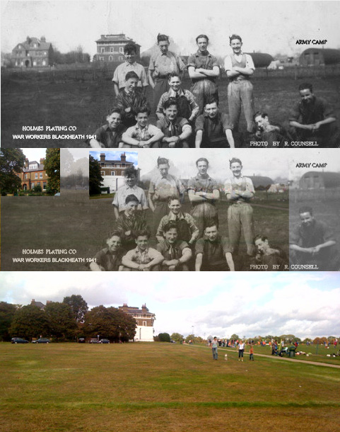 Holmes Plating Company War Workers Blackheath 1941 montage with present day