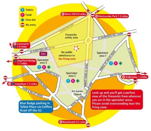 Map of Blackheath Roads Closed during Fireworks 2011