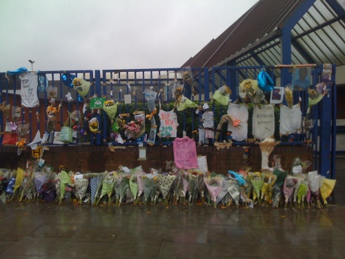 Tributes to Kevin Ssali, 14, killed at bus stop outside Lee Sainsbury's - wide view