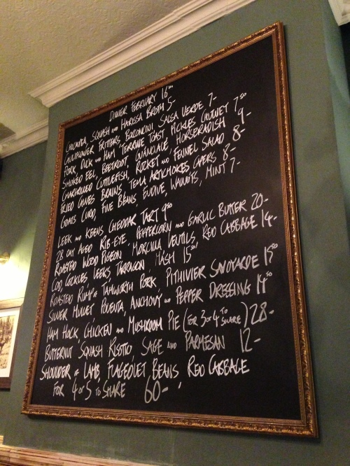New menu in Hare and Billet pub