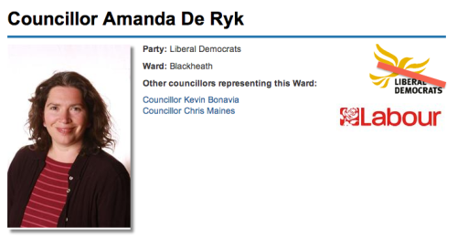 Amanada de Rky defects from LibDems to Labour in Blackheath