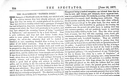 Spectator article about Blackheath footpads 1877