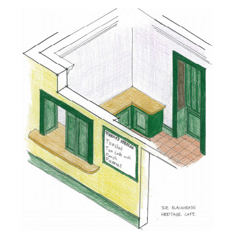 proposed cafe serving are downstairs